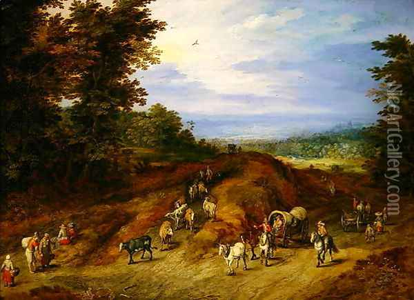Landscape with peasants carts and animals Oil Painting - Jan The Elder Brueghel