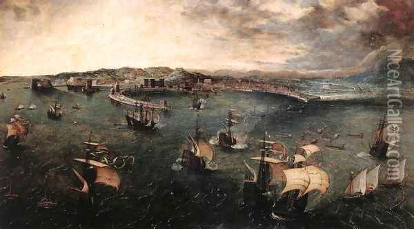 Naval Battle in the Gulf of Naples 1558-62 Oil Painting - Jan The Elder Brueghel