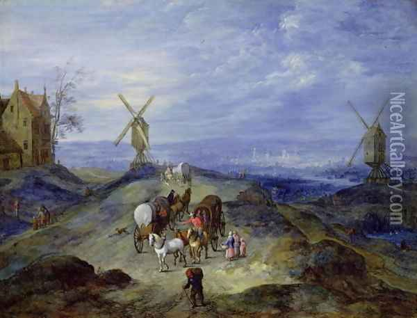 Landscape with Two Windmills 1612 Oil Painting - Jan The Elder Brueghel
