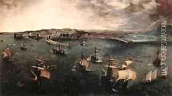 Navalbattle In The Gulf Of Naples 1558-62 Oil Painting - Jan The Elder Brueghel