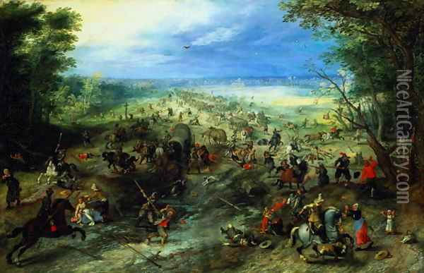Raid on a caravan of wagons 1612 Oil Painting - Jan The Elder Brueghel