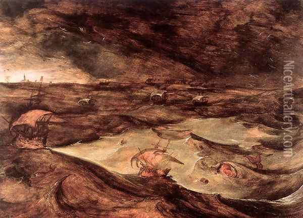 Storm at Sea 1568 Oil Painting - Jan The Elder Brueghel