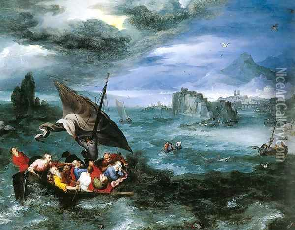 Christ in the Storm on the Sea of Galilee Oil Painting - Jan The Elder Brueghel