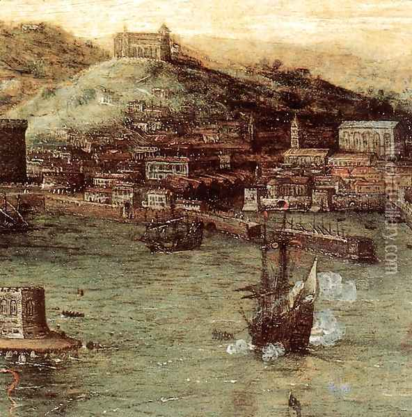 Naval Battle in the Gulf of Naples (detail) 1558-62 Oil Painting - Jan The Elder Brueghel
