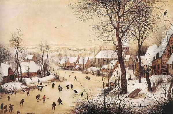 Winter Landscape with Skaters and Bird Trap 1565 Oil Painting - Jan The Elder Brueghel