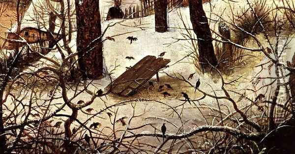 Winter Landscape with Skaters and a Bird Trap (detail) 1565 2 Oil Painting - Jan The Elder Brueghel
