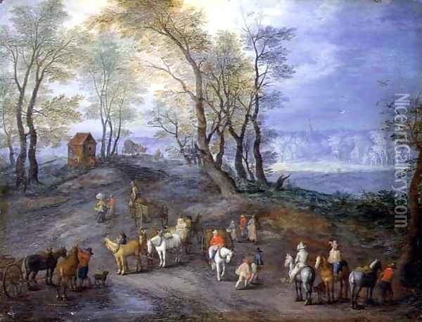 The Road to the Market Oil Painting - Jan The Elder Brueghel