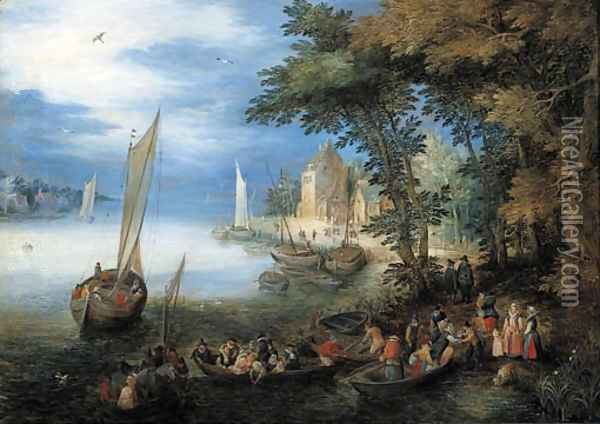A river landscape with a ferry arriving near a landingstage, a sailing vessel nearby Oil Painting - Jan The Elder Brueghel