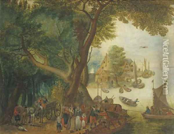 A river landscape with elegant figures, a village and sailing boats in the distance Oil Painting - Jan The Elder Brueghel