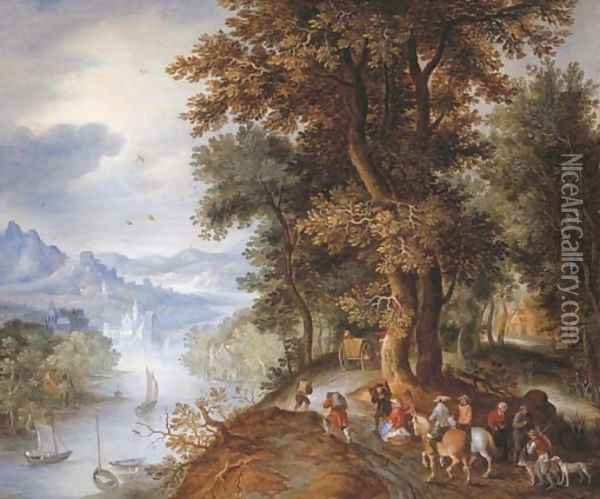 An extensive mountainous river landscape with horsemen and figures returning from the falconry, villages in the valley beyond Oil Painting - Jan The Elder Brueghel