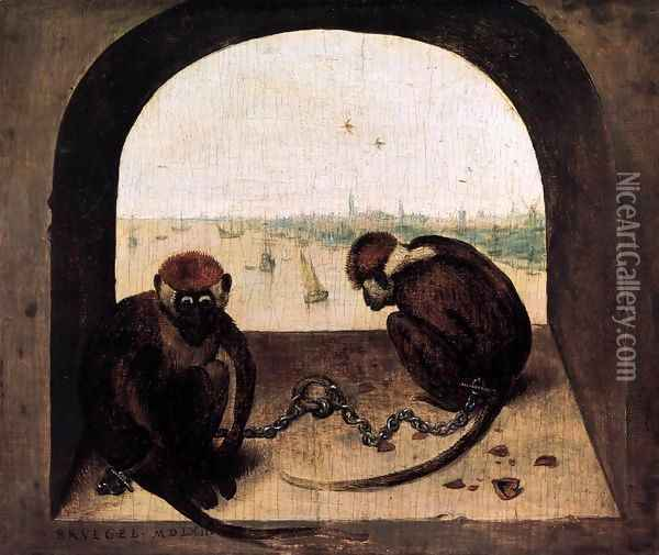 Two Chained Monkeys 1562 Oil Painting - Jan The Elder Brueghel