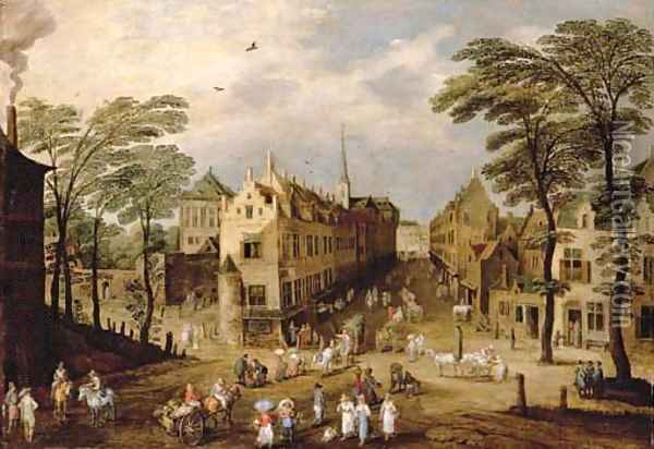 A town landscape with company, townsfolk and wagoners Oil Painting - Jan The Elder Brueghel