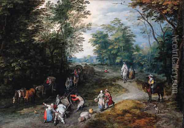 A wooded landscape with travellers Oil Painting - Jan The Elder Brueghel