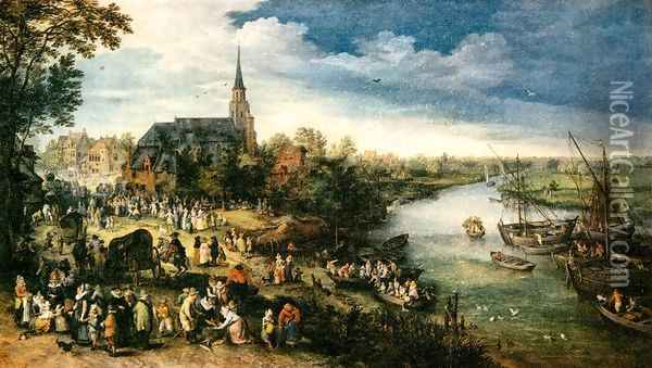 Fair at a Riverside Village Oil Painting - Jan The Elder Brueghel