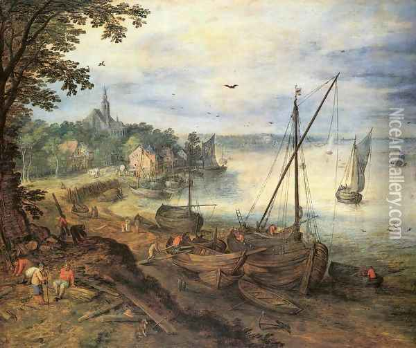 River Landscape with Lumbermen Oil Painting - Jan The Elder Brueghel