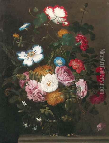 Roses, carnations, dahlias, morning glory and other flowers in a vase on a stone ledge Oil Painting - Jan The Elder Brueghel