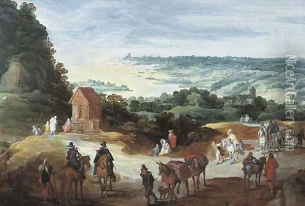 An extensive river landscape with travellers on a path Oil Painting - Jan The Elder Brueghel