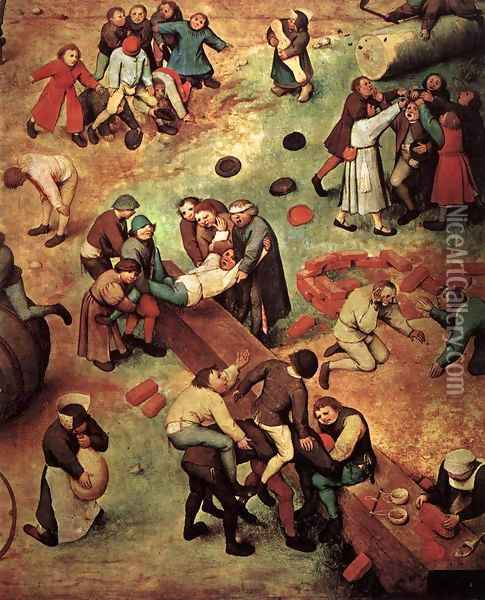 Children's Games (detail) 1559-60 Oil Painting - Jan The Elder Brueghel