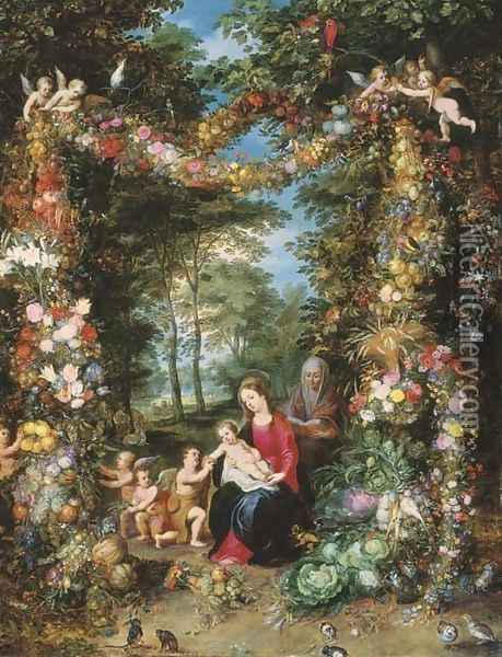 The Virgin and Child with the Infant Saint John the Baptist Oil Painting - Jan The Elder Brueghel