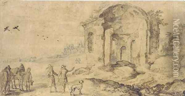 View of the ruins at Pozzuoli with travellers on a road Oil Painting - Jan The Elder Brueghel