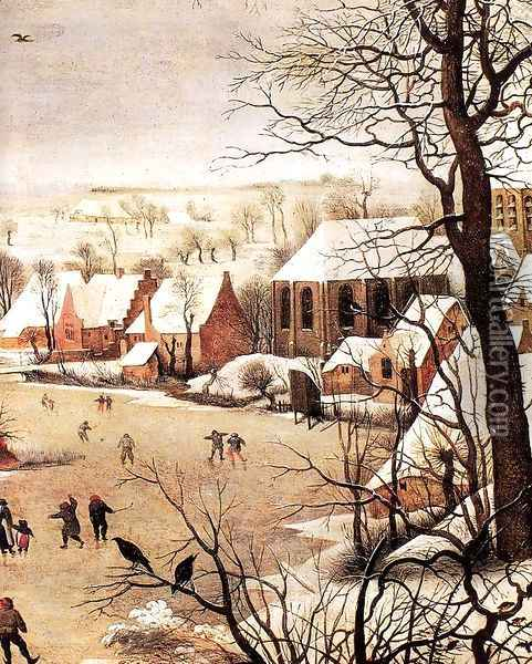 Winter Landscape with Skaters and a Bird Trap (detail) 1565 Oil Painting - Jan The Elder Brueghel
