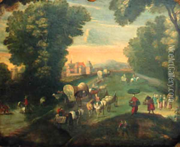 Peasants and travellers on a road by a fortified mansion Oil Painting - Jan The Elder Brueghel