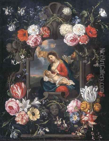The Virgin and Child in a carved stone cartouche surrounded by flowers Oil Painting - Jan The Elder Brueghel