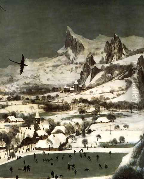 The Hunters in the Snow (detail) 1565 Oil Painting - Jan The Elder Brueghel