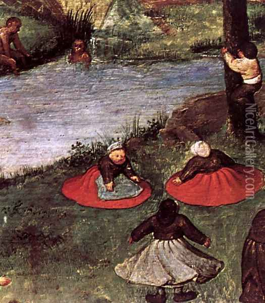 Children's Games (detail) 1559-60 3 Oil Painting - Jan The Elder Brueghel