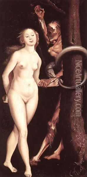 Eve, the Serpent, and Death Oil Painting - Hans Baldung Grien