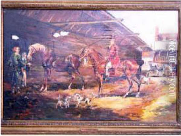 Stable Scene With Figures, Horses And Hounds Oil Painting - James Ward