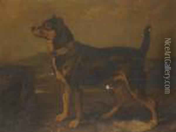 A Terrier In A Landscape Oil Painting - James Ward