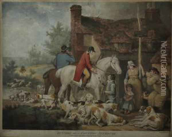 Outside Of A Country Alehouse Oil Painting - James Ward