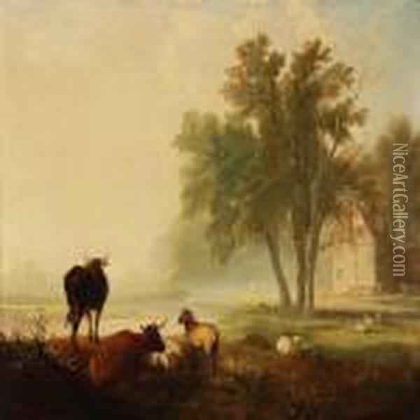 Landscape With Grazing Sheeps And Cows Oil Painting - James Ward