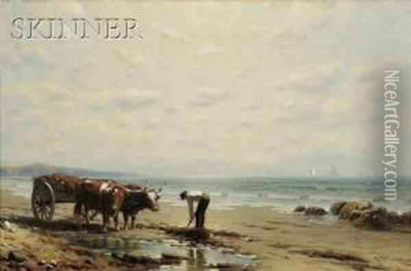 After High Tide Oil Painting - George W. Waters