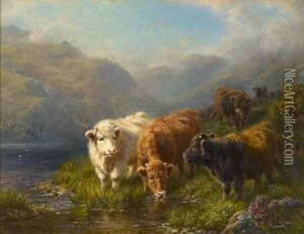 Cattle Watering In A Mountain Glen Oil Painting - Charles A. Watson
