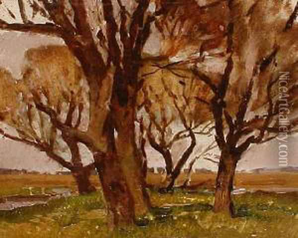 Autumn Trees In A Landscape Oil Painting - Harry Watson
