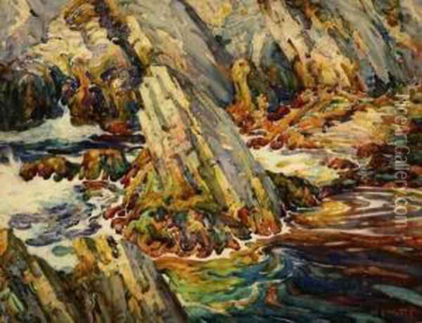 The Monolith At Neap Tide Oil Painting - William Watts