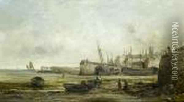 Low Tide At Penzance Harbour Oil Painting - William Edward Webb