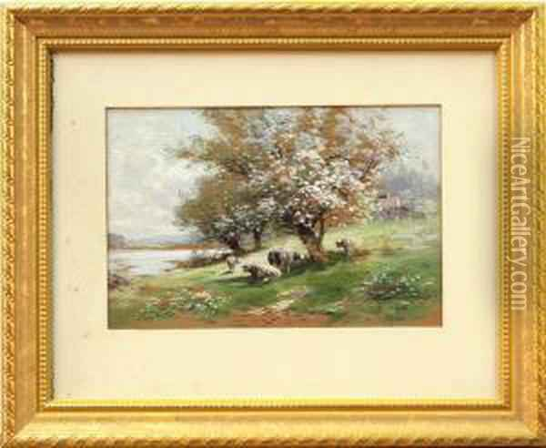 Autumn Landscape And Spring Landscape With Cows Oil Painting - Carl Weber