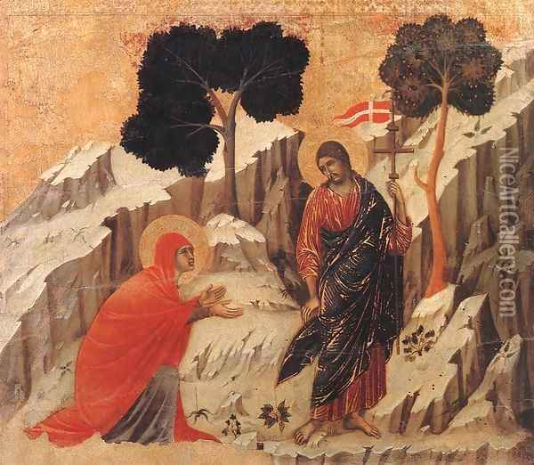 Appearence to Mary Magdalene (Noli me tangere) 1308-11 Oil Painting - Duccio Di Buoninsegna