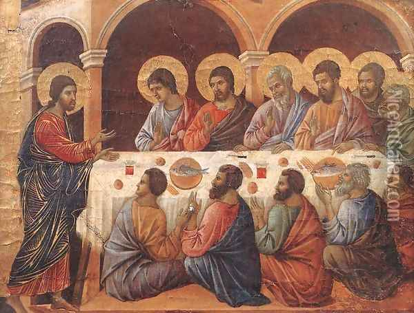 Appearence While the Apostles are at Table 1308-11 Oil Painting - Duccio Di Buoninsegna