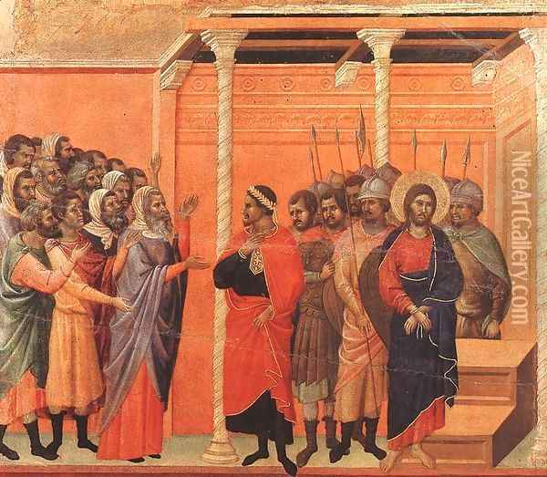 Christ Accused by the Pharisees 1308-11 Oil Painting - Duccio Di Buoninsegna