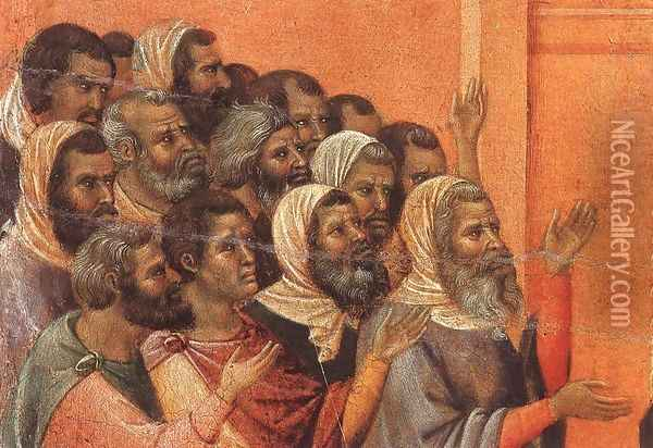 Christ Accused by the Pharisees (detail) 1308-11 Oil Painting - Duccio Di Buoninsegna
