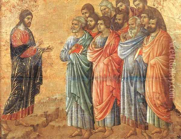 Appearence on the Mountain in Galilee 1308-11 Oil Painting - Duccio Di Buoninsegna