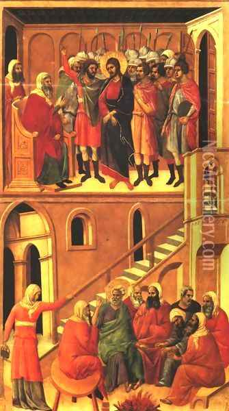 Christ before Annas and Peter Denying Jesus 1308-11 Oil Painting - Duccio Di Buoninsegna