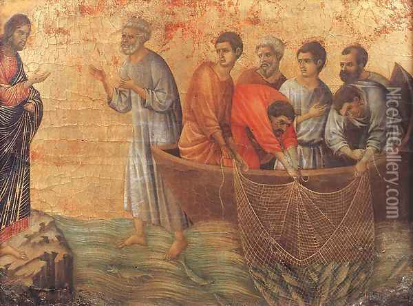 Appearence on Lake Tiberias 1308-11 Oil Painting - Duccio Di Buoninsegna