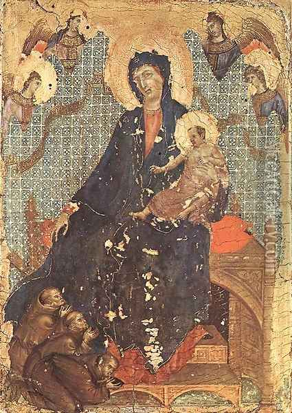 Madonna of the Franciscans c. 1300 Oil Painting - Duccio Di Buoninsegna
