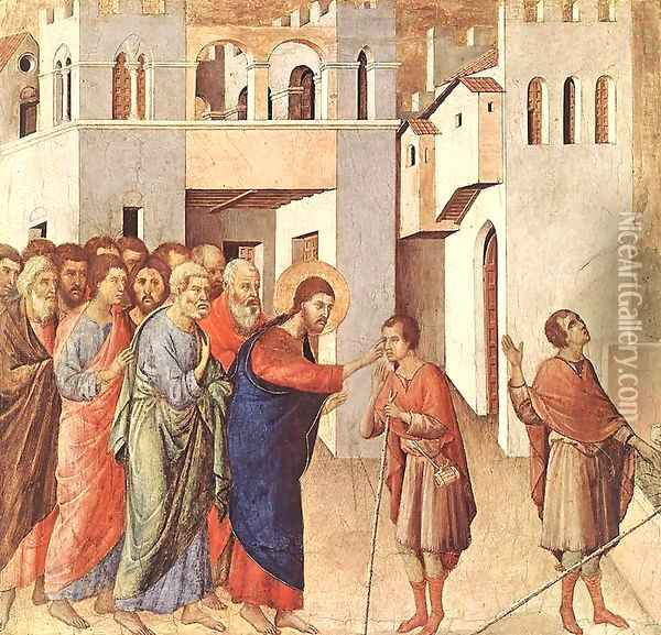 Healing of the Blind Man 1308-11 Oil Painting - Duccio Di Buoninsegna