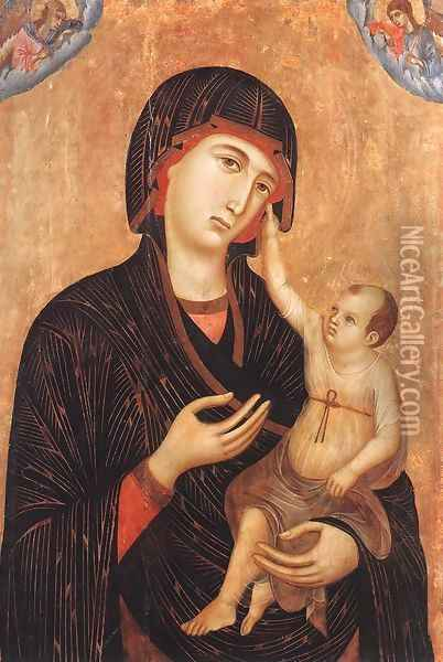 Madonna with Child and Two Angels (Crevole Madonna) 1283-84 Oil Painting - Duccio Di Buoninsegna